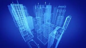 stock footage architectural blueprint of contemporary buildings blue