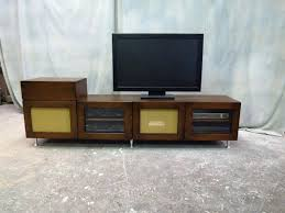mid century modern tv console mid century modern stand and record with shelf using glass door