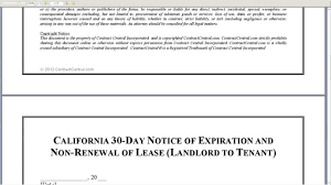 california day notice of expiration and non renewal of lease california 30 day notice of expiration and non renewal of lease landlord to tenant
