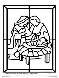 Stained Glass Christmas Nativity Scene Coloring Pages By Art With