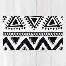 tribal black and white rug
