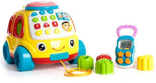 GoAppuGo musical learning car with rattle phone lights music baby birthday gift for 1 2 year old boy girl (Multicolor)