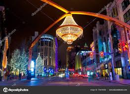 cleveland oh jan 1 2016 playhouse square is lit up for with the giant chandelier prominently suspended above euclid avenue