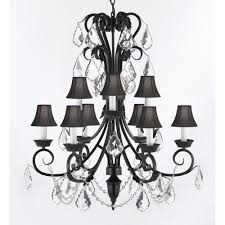 empress iron and crystal 9 light black chandelier with black shades
