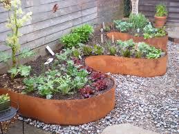contemporary landscape with wooden garden edging