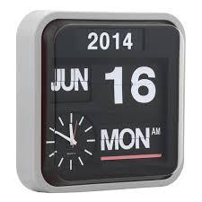 vintage calender flip clock light grey