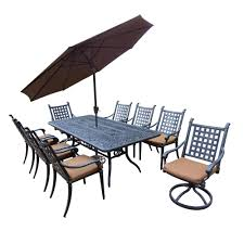 11 piece aluminum outdoor dining set with sunbrella brown cushions and brown umbrella