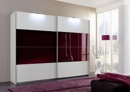 slumberhaus german eleganz white blackberry glass 180cm sliding door wardrobe 3366843105362