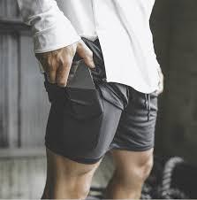 Men Fitness <b>2 in 1</b> running Shorts <b>Casual Sports</b> bodybuilding ...