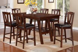 dark walnut 7 pc dining set counter height dining table high chair dining set