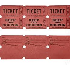 100 Red Colored Raffle Tickets Double Roll 50 50 Carnival Fair Split The Pot One Hundred Consecutively Numbered Fundraiser Festival Event Party Door