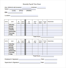 Sample Payroll Timesheet Impressive Wages Template Engneeuforicco