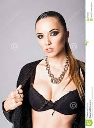 Girl Brazier Design Pretty Young Girl Wearing Black Jacket And Bra Stock Image