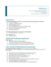 International sports sciences association (issa). Nicole Bly Personal Training Resume