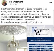 electrician handyperson wanted to install a plaster ceiling rose and chandelier