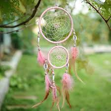 car handmade pink circular with feathers wall hanging decoration shell