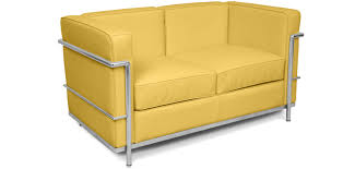bright coloured furniture. Bright Coloured Corbusier Style 2 Seater LC2 Faux Leather Yellow Furniture O