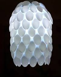 handcrafted plastic spoon lamp