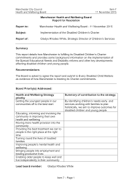 Disabled Children's Charter report to the Health and Wellbeing Board on 11  November 2015