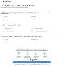 print instantaneous velocity definition formula worksheet