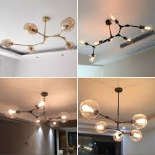 glass globe chandelier cognacclear globe glass pendant lamp branching bubble modern layout design minimalist