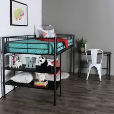 black metal low loft bed with desk shelves