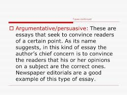 essay writing elements of the essay ppt  types continued