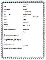 Template For Weather Observation Journal Science Weather