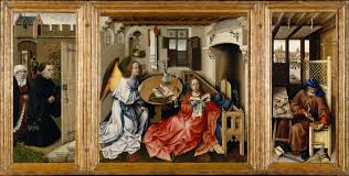 iconography of anounciation of merode altarpiece by robert campin
