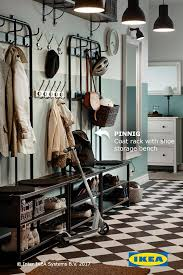 Coat Rack Systems Fascinating PINNIG Coat Rack With Shoe Storage Bench Black Hallway