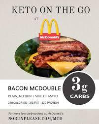 keto at mcdonald s bacon mcdouble