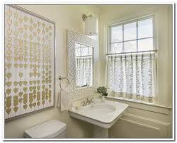 leaves patterned bathroom window curtains ideas with framed mirror above undermount bathroom sink also large