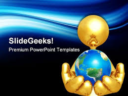 Blue And Gold Powerpoint Template Gold Guy Holding The World Globe Powerpoint Templates And Powerpoint