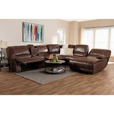 salomo modern and contemporary brown faux leather upholstered 6 piece sectional recliner sofa with 3
