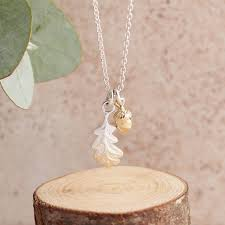 little acorn and oak leaf silver and gold necklace