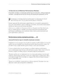 Job Performance Review Samples Essay Method 5 Performance Appraisal Sample Wording Pdf Evaluation