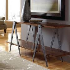sawhorse in industrial console table  finish  top options