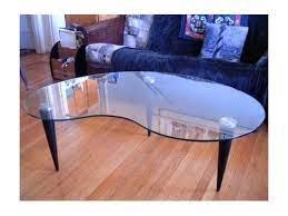 glasstop kidney shaped coffee table