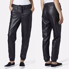 top paneled faux leather joggers women s fashion clothes pants jeans shorts on carou
