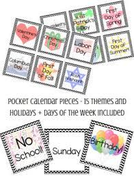 Pocket Chart Calendar Cards 25 Themes Including Disney Holidays