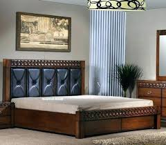 Wooden Bedstead With Storage Wooden King Size Bed Frame Dark Wooden ...
