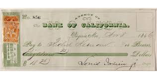 Gould & Curry Virginia City Check to father of ex-governor 1866