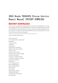 2003 honda trx650 fa rincon service repair manual instant 2003 honda trx650fa rincon servicerepair manual instant instant this is the most complete service