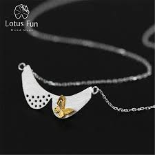 lotus fun real 925 sterling silver handmade fine jewelry peter pan collar necklace with pendant acessorios