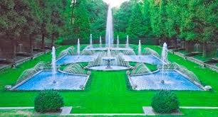 italian water garden nightscape longwood gardens pa early evening september