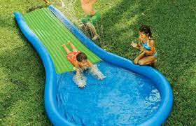 Amazoncom Bounceland Inflatable Cascade Water Slide With Pool Water Slides Backyard