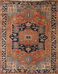 antique geometric rust navy oriental area rug 9x11