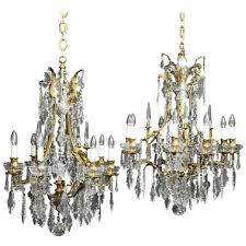 crystal antique chandeliers french pair of gilded bronze and crystal antique chandeliers for vintage crystal