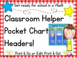 Classroom Helpers Pocket Chart Classroom Helpers Pocket Chart Headers