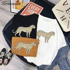 Hirsionsan Korean <b>Summer Leopard</b> T Shirt <b>Women 2019</b> Cotton ...